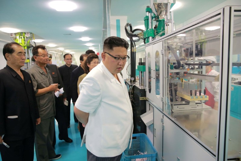 North Korean leader Kim Jong Un visits the newly-built Dental Sanitary Goods Factory in this undated photo released by North Korea's Korean Central News Agency (KCNA) June 20, 2017. KCNA/via REUTERS