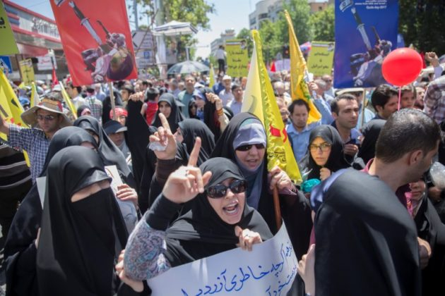Iranian demonstrators shout slogans during the annual pro-Palestinian rally marking Al-Quds Day in Tehran, Iran, June 23, 2017. Nazanin Tabatabaee Yazdi/TIMA via REUTERS. ATTENTITON EDITORS - THIS IMAGE WAS PROVIDED BY A THIRD PARTY.