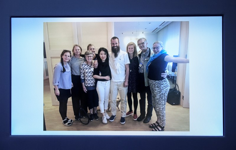 A picture of freed hostage Johan Gustafsson and his family at Arlanda airport after his arrival in Sweden on Monday, is shown during a press conference with Swedish Foreign Minister Margot Wallstrom at government headquarters in Stockholm, Sweden June 26, 2017