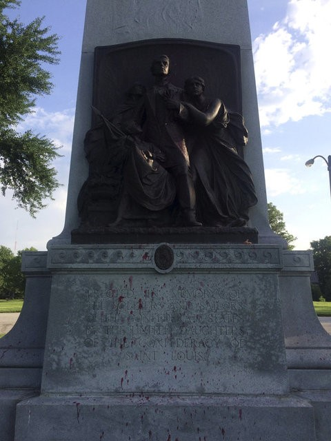 FILE PHOTO: Red paint is seen on a vandalized Confederate Memorial in Forest Park in St. Louis, Missouri in this photo from St. Louis' Mayor's office released on June 24, 2015.REUTERS/St. Louis Office of the Mayor/Handout via REUTERS/File Photo