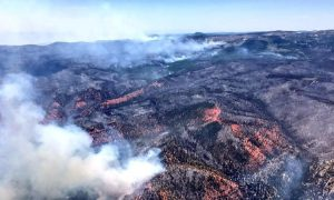 An aerial photo of wildfires burning across almost 50,000 acres near the ski resort of Brian Head, about 245 miles south of Salt Lake City, Utah is shown in this handout photo provided June 27, 2017. Courtesy Lt. Governor Spencer J Cox/Handout via REUTERS