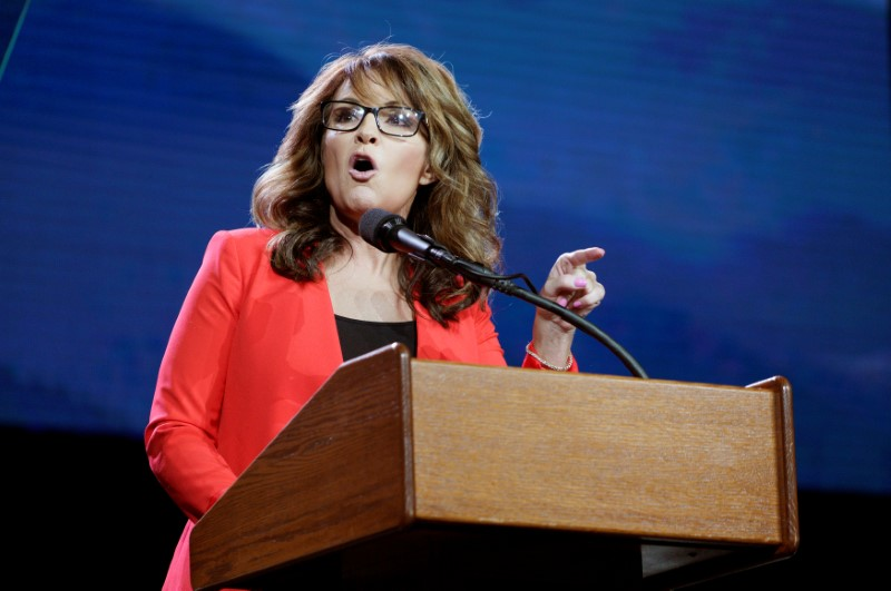 FILE PHOTO - Sarah Palin speaks at the Western Conservative Summit in Denver, Colorado, U.S., July 1, 2016. REUTERS/Rick Wilking
