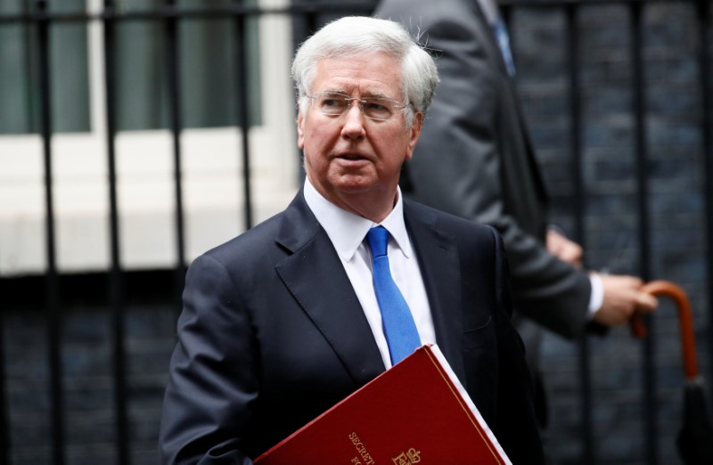 Britain's Secretary of State for Defence Michael Fallon leaves 10 Downing Street after a cabinet meeting, in London, June 27, 2017. REUTERS/Stefan Wermuth