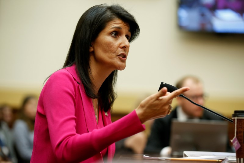 """U.S. Ambassador to the United Nations Nikki Haley testifies to the House Foreign Affairs Committee on """"Advancing U.S. Interests at the United Nations"""" in Washington, U.S., June 28, 2017. REUTERS/Joshua Roberts"""