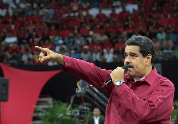 Venezuela's President Nicolas Maduro speaks during a gathering in support of him and his proposal for the National Constituent Assembly in Caracas, Venezuela June 27, 2017. Miraflores Palace/Handout via REUTERS