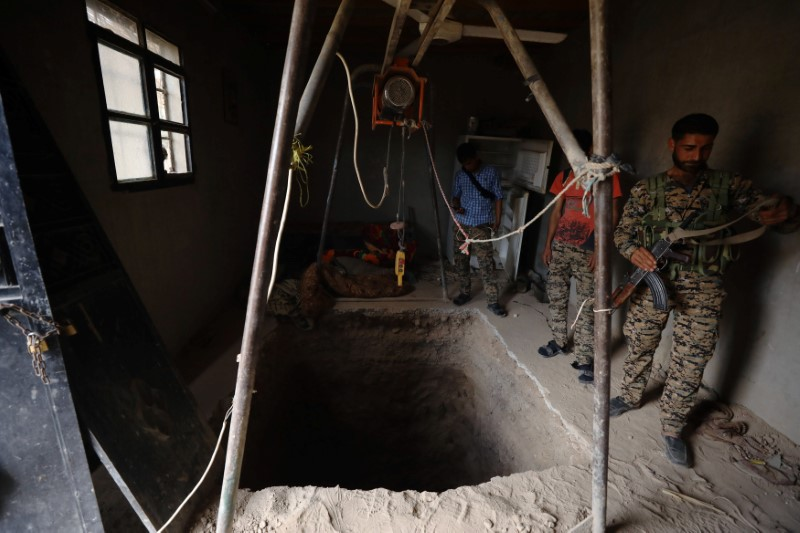 Syrian Democratic Forces fighters inspect a tunnel dug by Islamic State militants inside a house in Raqqa's al-Sanaa industrial neighborhood. REUTERS/Rodi Said