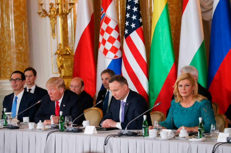 U.S. President Donald Trump speaks as Polish President Andrzej Duda and Croatian President Kolinda Grabar-Kitarovic listen during the Three Seas Initiative Summit in Warsaw, Poland July 6, 2017. REUTERS/Carlos Barria