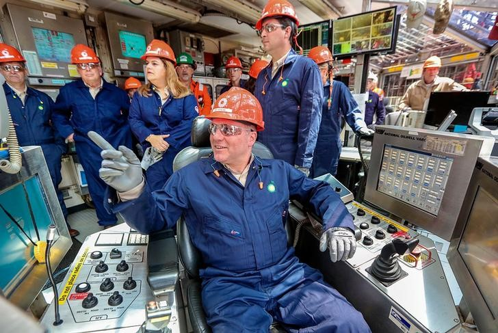 FILE PHOTO - Representative Steve Scalise (R-LA) is pictured sitting at the controls in the drilling shack on BP's Thunder Horse Oil Platform in the Gulf of Mexico, 150 miles from the Louisiana coast, May 11, 2017. REUTERS/Jessica Resnick-Ault
