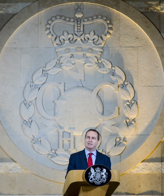 The director of Britain's GCHQ Robert Hannigan delivers a speech at Government Communications Headquarters in Cheltenham, November 17, 2015.