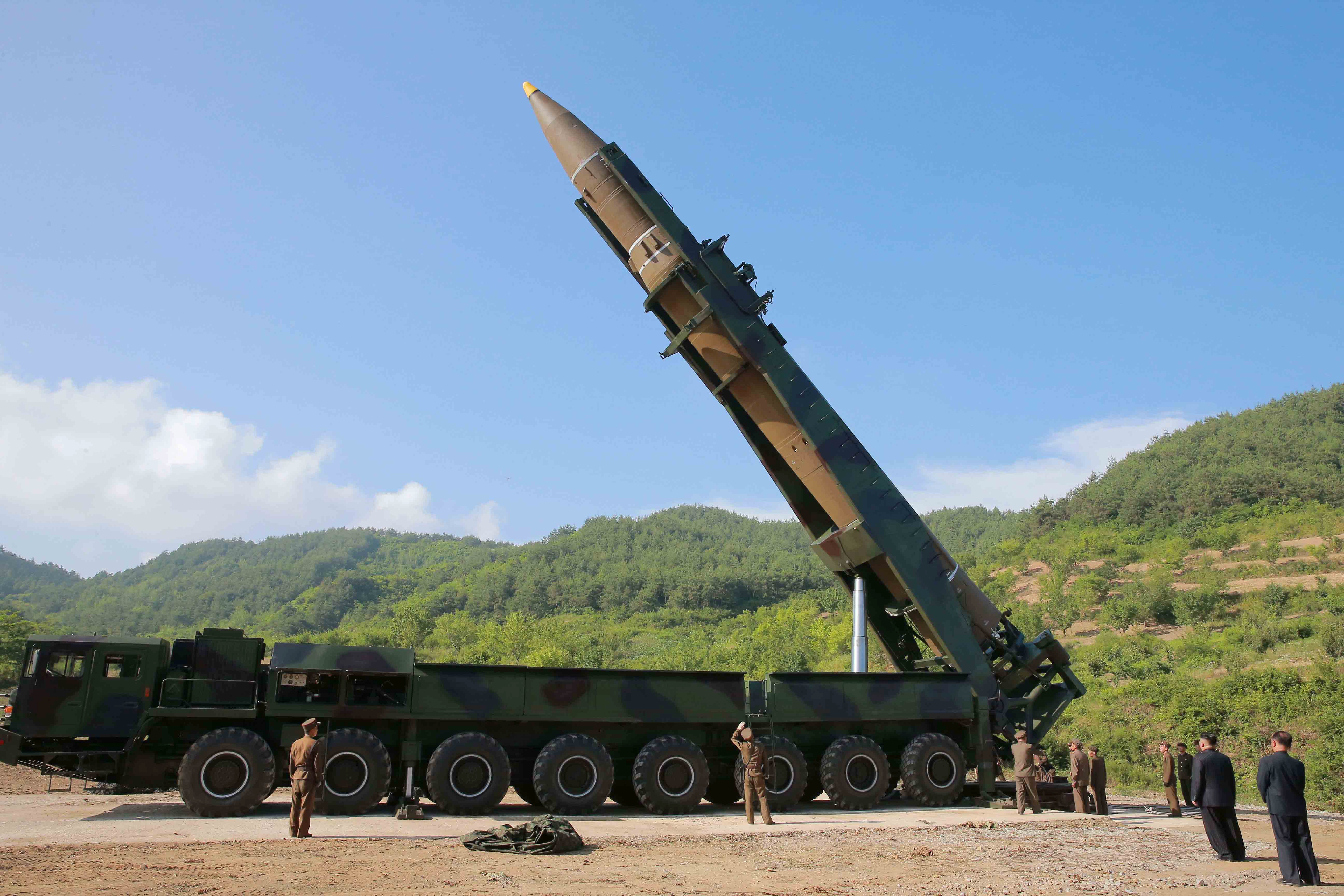 The intercontinental ballistic missile Hwasong-14. North Korea appeared to have used a Chinese truck, originally sold for hauling timber, but converted for military use, to transport and erect the missile on Tuesday.