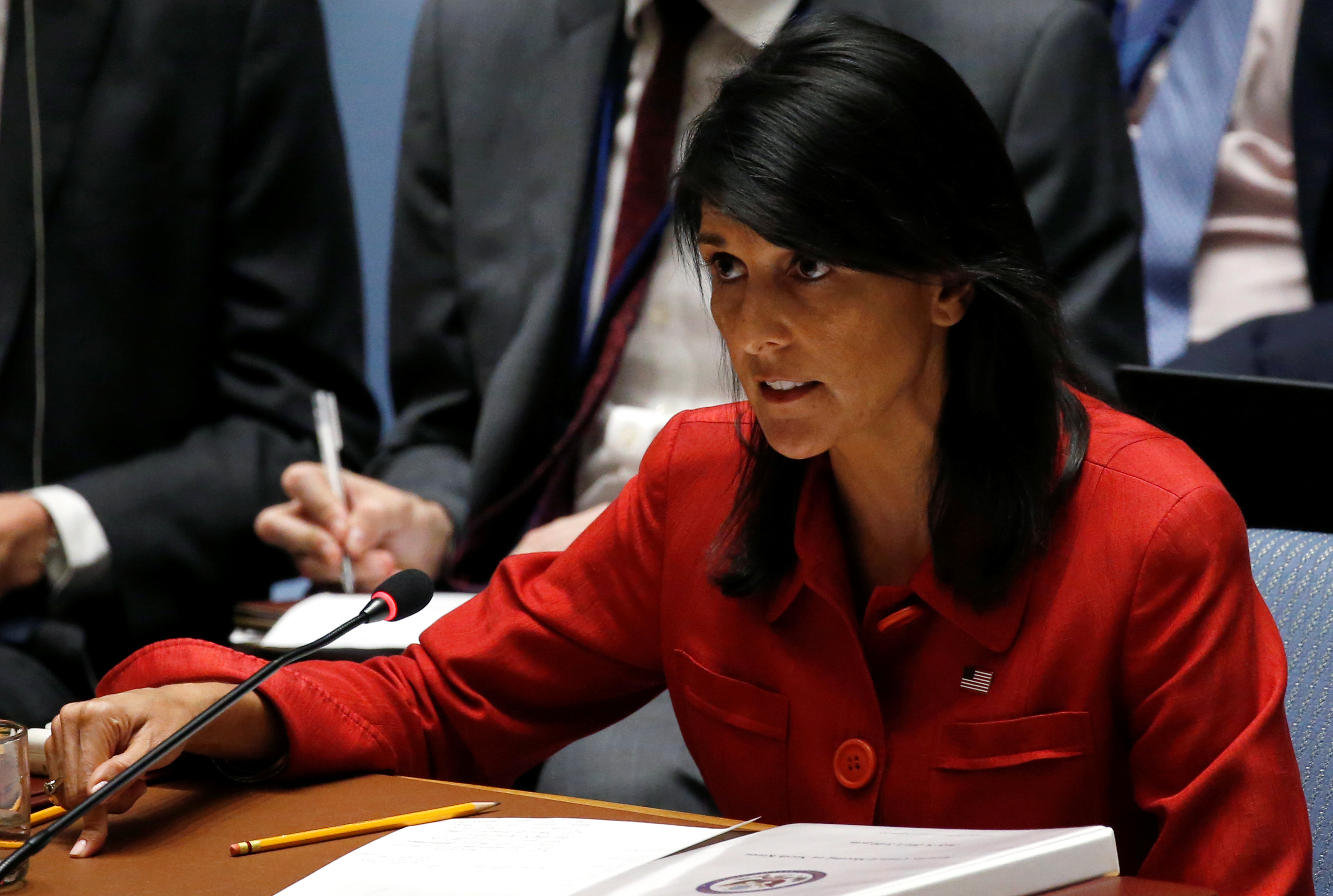 U.S. Ambassador to the United Nations Nikki Haley directs comments to the Russian delegation at the conclusion of a U.N. Security Council meeting to discuss the recent ballistic missile launch by North Korea at U.N. headquarters in New York