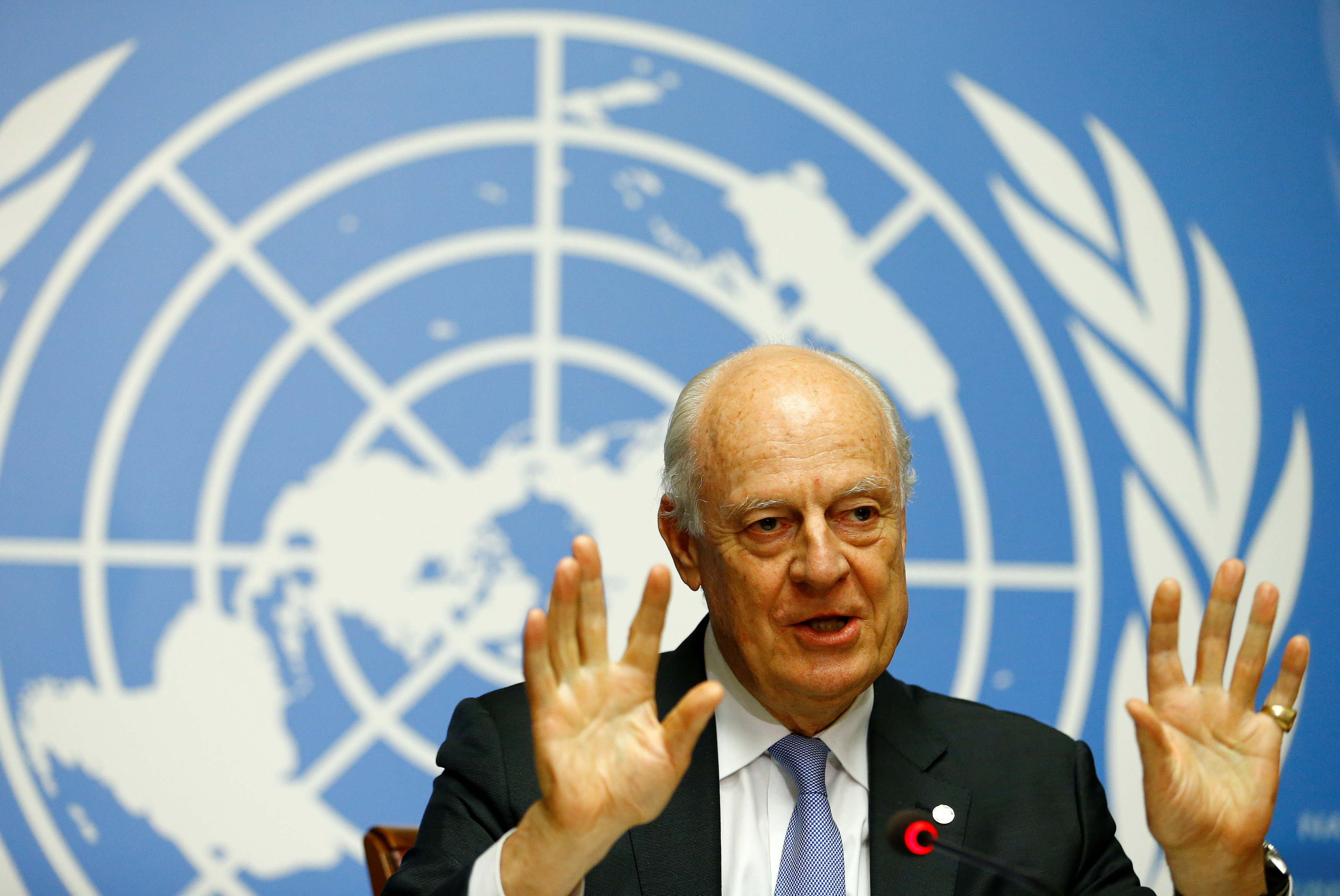 United Nations Special Envoy for Syria Staffan de Mistura attends a news conference during the Intra Syria talks at the U.N. offices in Geneva, Switzerland