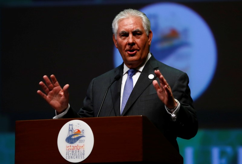 U.S. Secretary of State Rex Tillerson makes a speech during the opening ceremony of the 22nd World Petroleum Congress in Istanbul, Turkey, July 9,