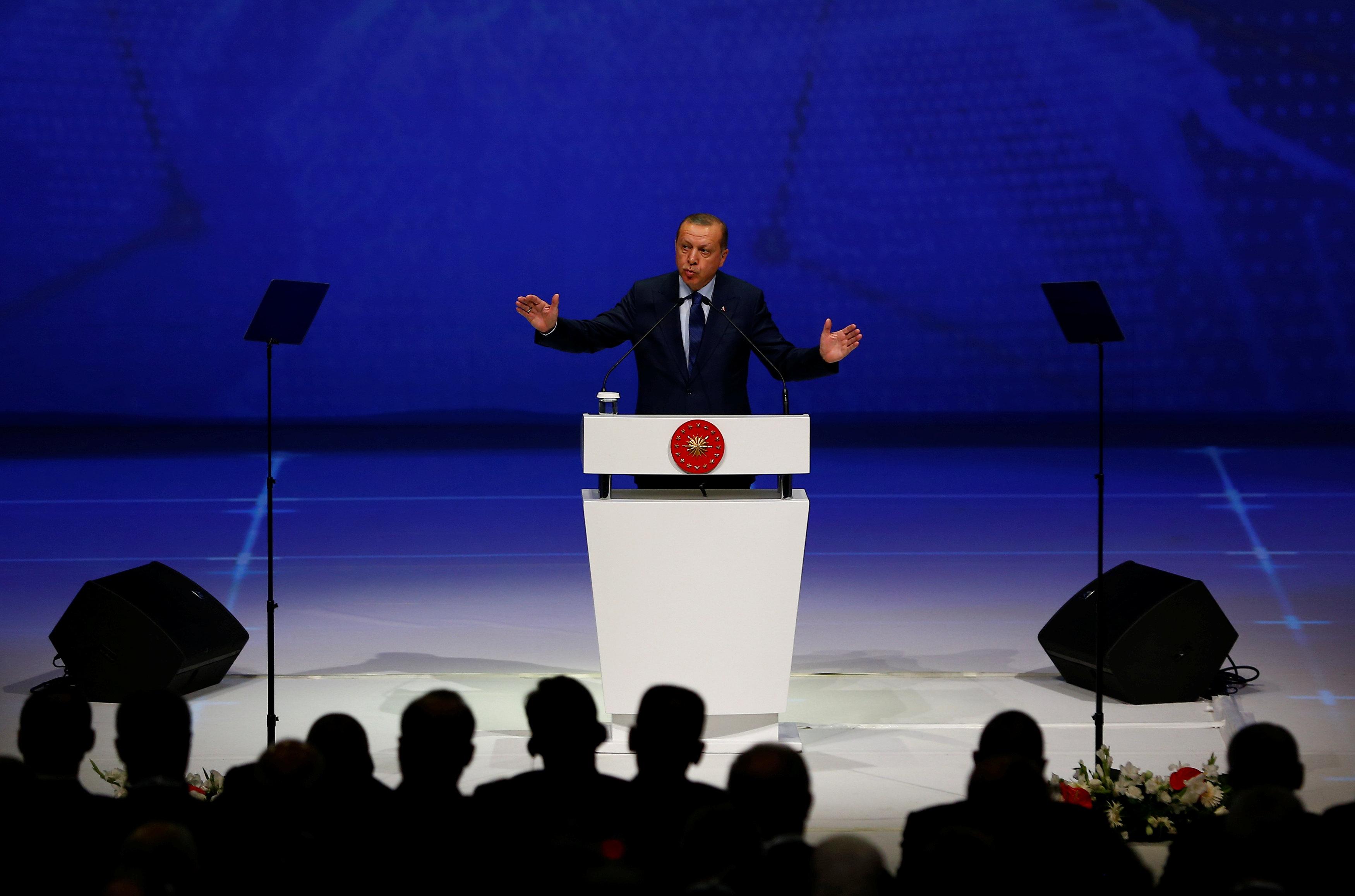 Turkish President Tayyip Erdogan makes a speech at the 22nd World Petroleum Congress in Istanbul, Turkey, July 10, 2017.