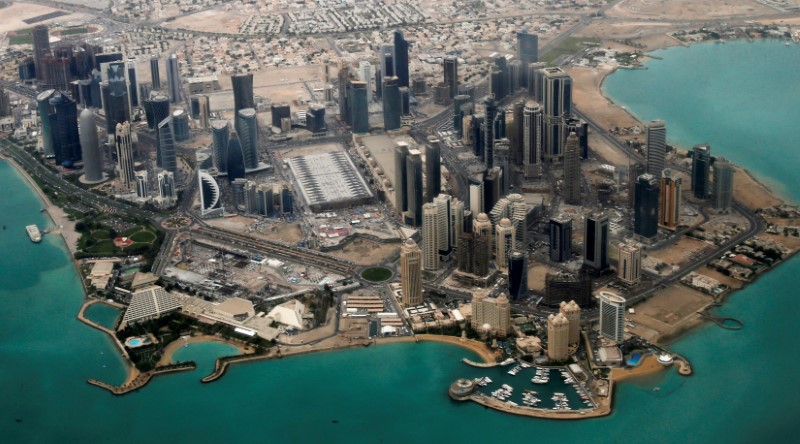 FILE PHOTO: An aerial view of Doha's diplomatic area March 21, 2013. REUTERS/Fadi Al-Assaad/File Photo
