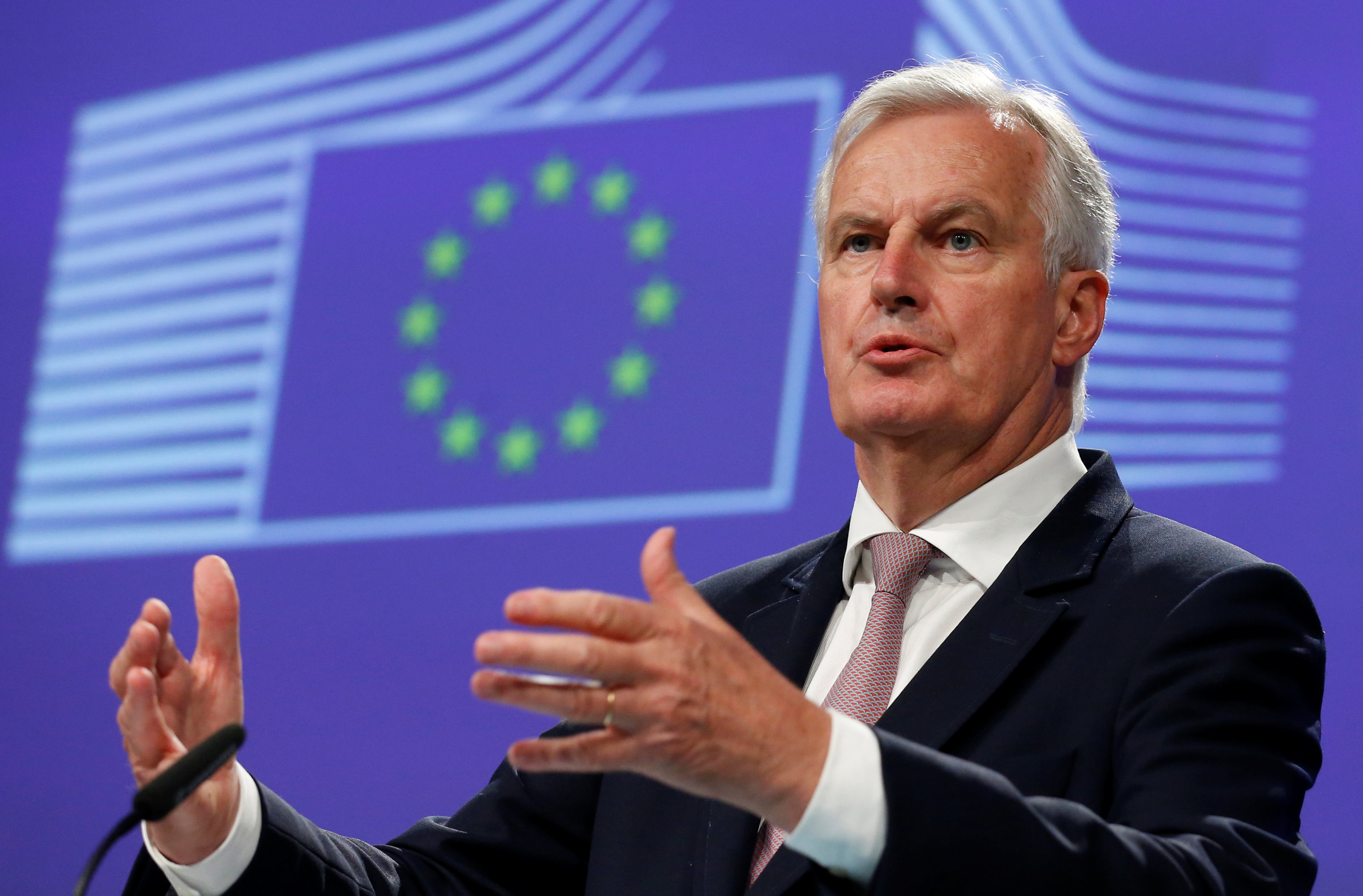 European Union's chief Brexit negotiator Michael Barnier addresses a news conference at the EU Commission headquarters in Brussels, Belgium, July 12, 2017. REUTERS/Francois Lenoir