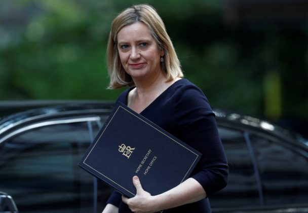 FILE PHOTO: Britain's Home Secretary, Amber Rudd, arrives in Downing Street for a cabinet meeting, in central London, Britain June 20, 2017. REUTERS/Eddie Keogh
