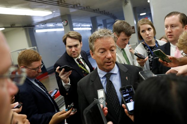 Sen. Rand Paul (R-KY) speaks with reporters about the Senate health care bill on Capitol Hill in Washington, U.S., July 12, 2017. REUTERS/Aaron P. Bernstein