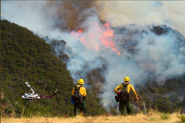 Los Padres National Forest firefighters watch as helicopters work on the northeast flank of the Whittier fire near Hot Spring Canyon outside Cachuma Lake, California, U.S. July 11, 2017. Mike Eliason/Santa Barbara County Fire/Handout via REUTERS