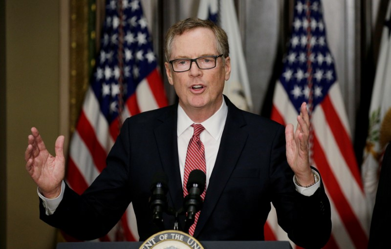 FILE PHOTO - U.S. Trade Representative Robert Lighthizer speaks during a ceremony at the White House in Washington, U.S. on May 15, 2017. REUTERS/Kevin Lamarque/File Photo