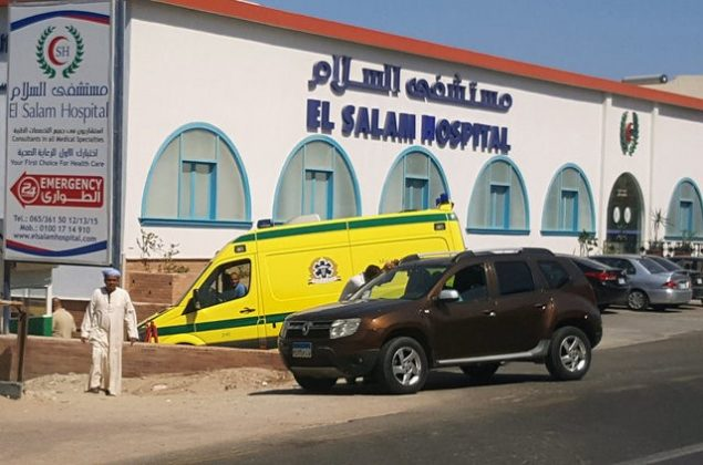 A man walks in front of an ambulance arriving at El Salam Hospital after an Egyptian man stabbed two German tourists to death and wounded four others at the beach of the Zahabia hotel, in Hurghada, south of the capital Cairo, Egypt, July 14, 2017. REUTERS/Mohamed Aly