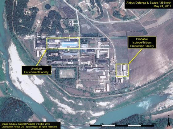 "A satellite image of the radiochemical laboratory at the Yongbyon nuclear plant in North Korea by Airbus Defense & Space and 38 North released on July 14, 2017. ""Includes material Pleiades © CNES 2017 Distribution Airbus DS / Spot Image, all rights reserved."" Courtesy Airbus Defense & Space and 38 North/Handout via REUTERS"