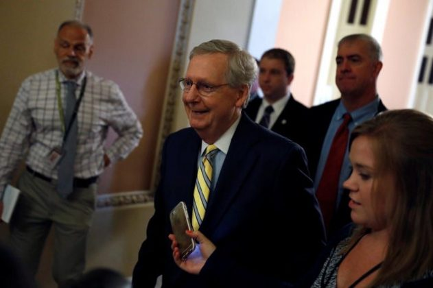 Senate Majority Leader Mitch McConnell speaks with reporters about the Senate health care bill on Capitol Hill in Washington, U.S., July 13, 2017. REUTERS/Aaron P. Bernstein