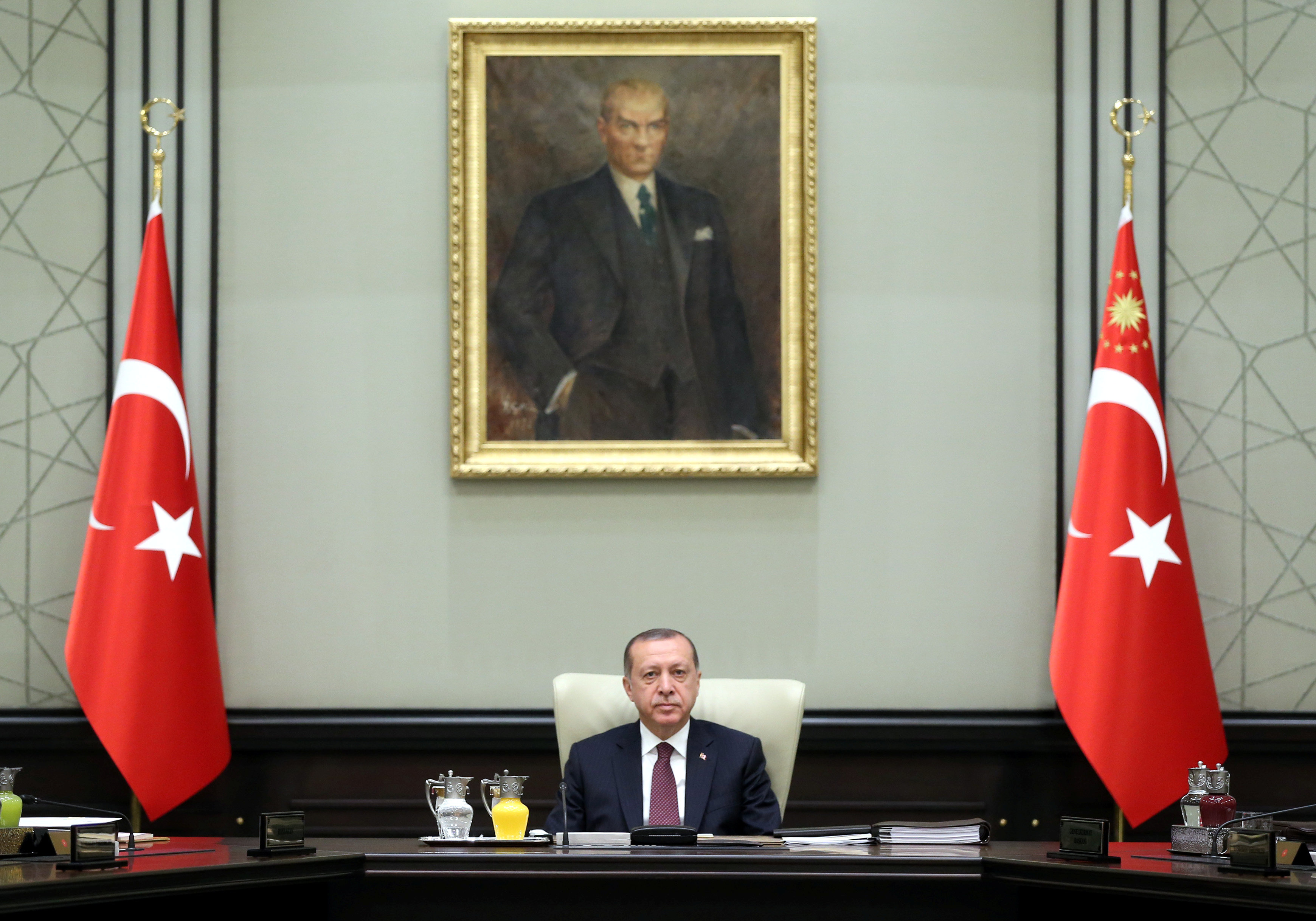 Turkish President Tayyip Erdogan chairs a National Security Council meeting in Ankara, Turkey, July 17, 2017