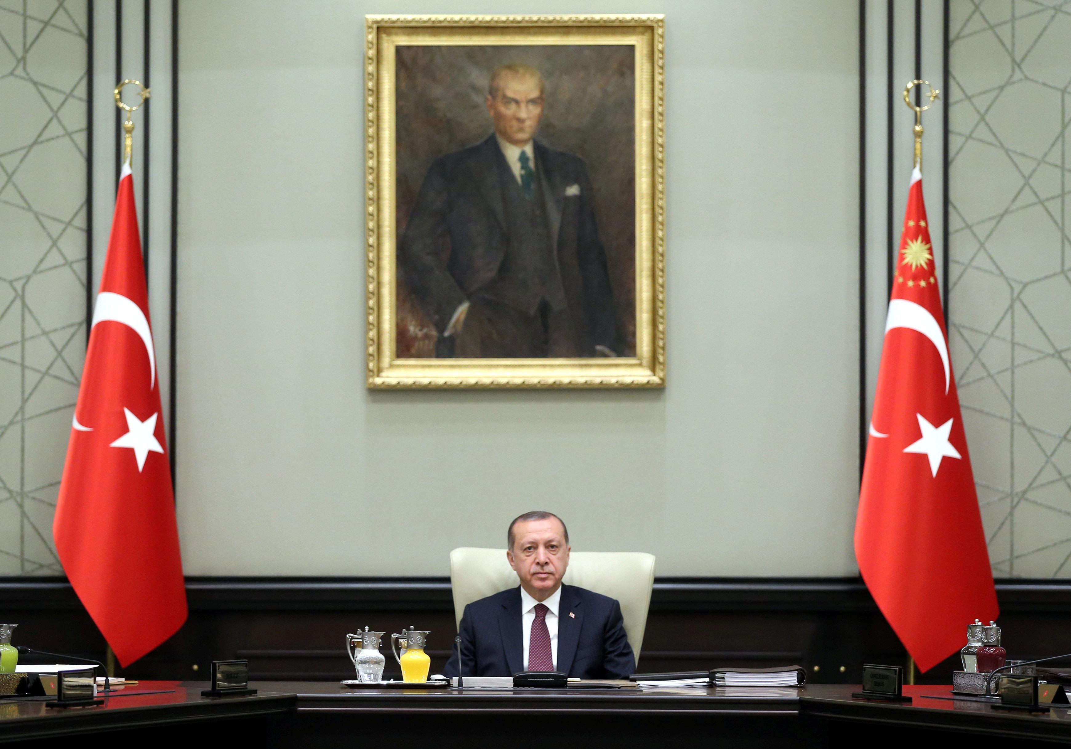 Turkish President Tayyip Erdogan chairs a National Security Council meeting in Ankara, Turkey, July 17, 2017