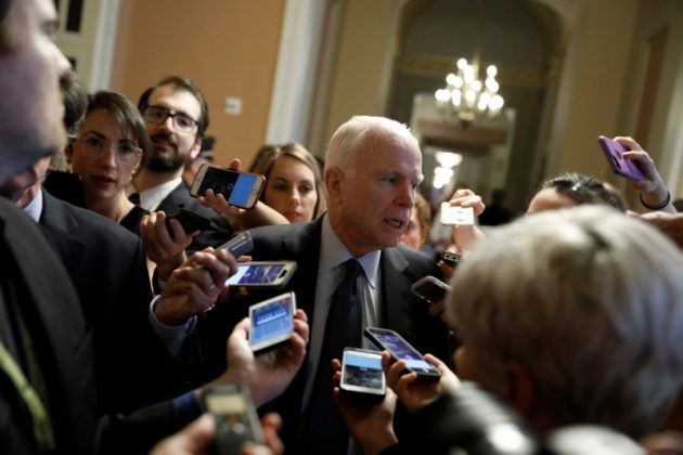Sen. John McCain (R-AZ) speaks with reporters about the Senate health care bill on Capitol Hill