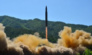 The intercontinental ballistic missile Hwasong-14 is seen during its test in this undated photo released by North Korea's Korean Central News Agency (KCNA) in Pyongyang, July 5 2017. KCNA/via REUTERS