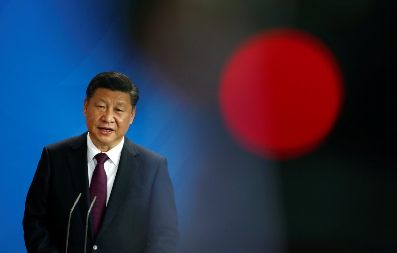 Chinese President Xi Jinping attends a news conference at the Chancellery in Berlin, Germany, July 5, 2017. REUTERS/Fabrizio Bensch