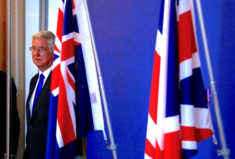 Britain's Secretary of State for Defence Michael Fallon arrives for a media conference in Sydney, Australia July 27, 2017. REUTERS/David Gray