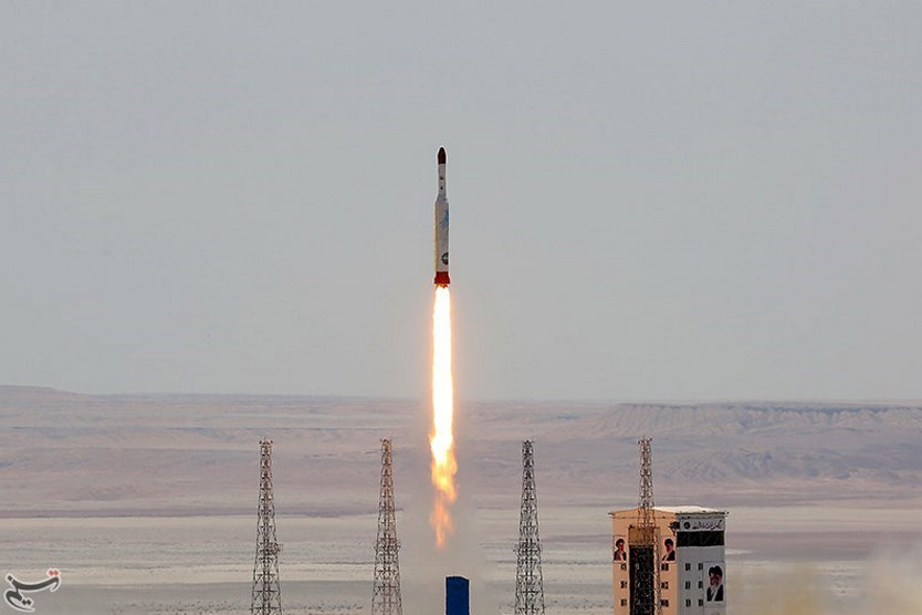 Simorgh rocket is launched and tested at the Imam Khomeini Space Centre, Iran, in this handout photo released by Tasnim News Agency on July 27, 2017. Tasnim News Agency/Handout via REUTERS ATTENTION EDITORS - THIS PICTURE WAS PROVIDED BY A THIRD PARTY. NO RESALES. NO ARCHIVE. TPX IMAGES OF THE DAY