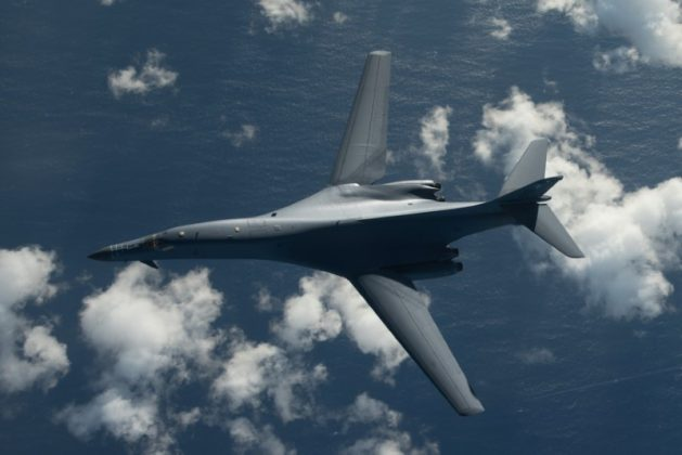 One of two U.S. Air Force B-1B Lancer bombers flies a 10-hour mission from Andersen Air Force Base, Guam, into Japanese airspace and over the Korean Peninsula,