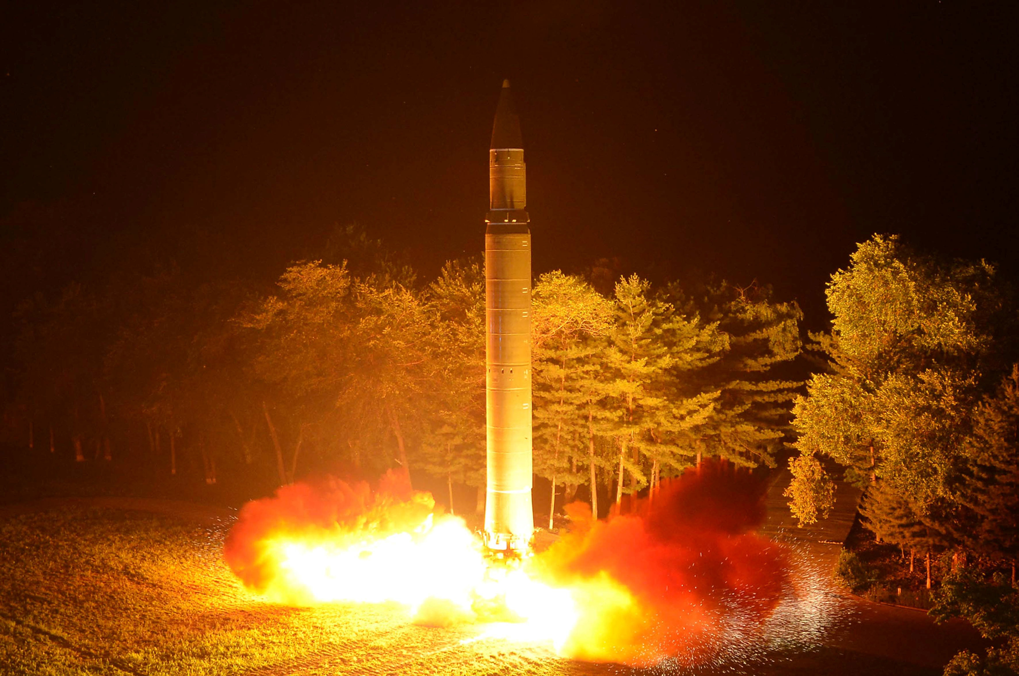 Intercontinental ballistic missile (ICBM) Hwasong-14 is pictured during its second test-fire in this undated picture provided by KCNA in Pyongyang