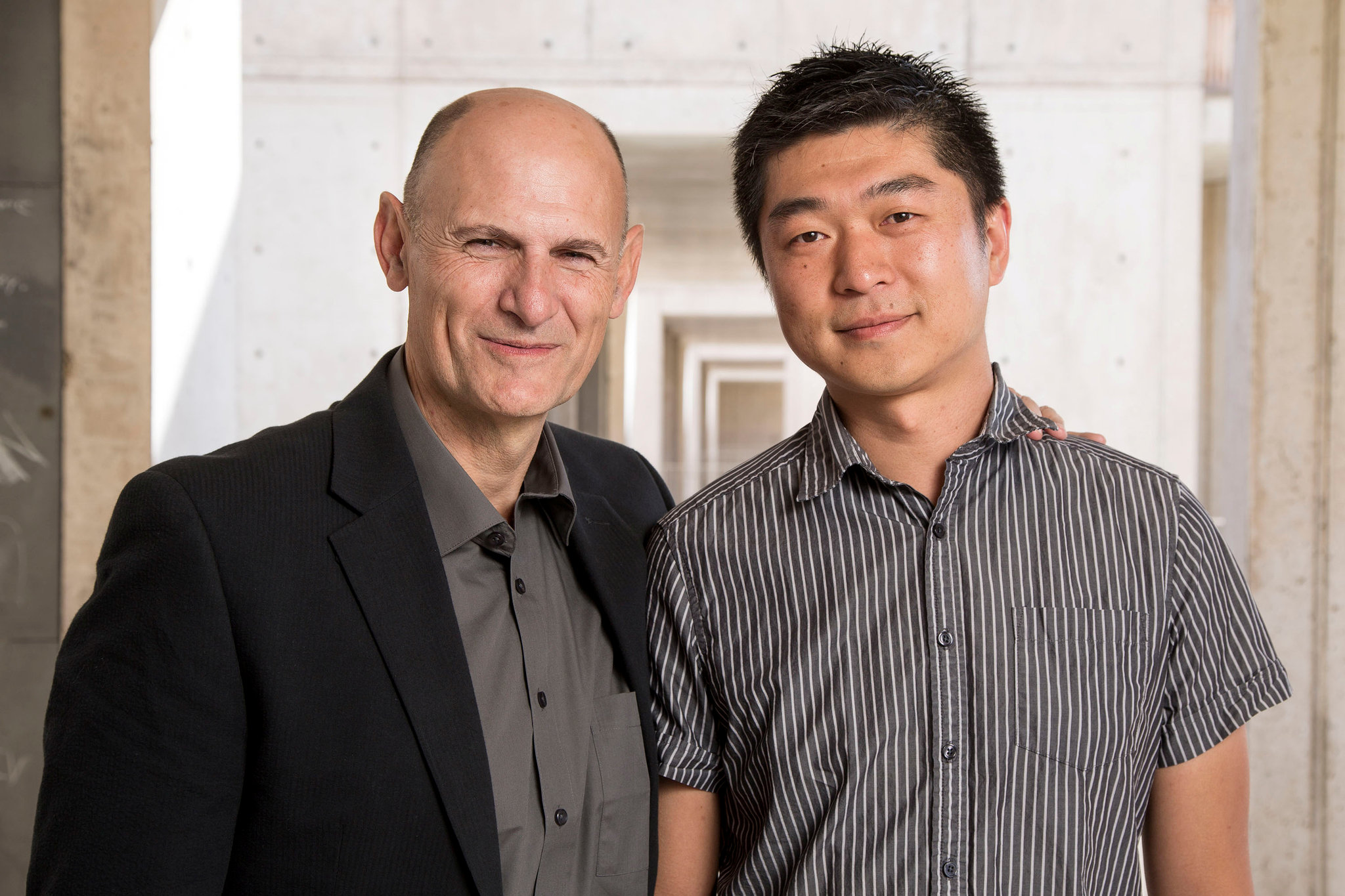 Juan Carlos Izpisua Belmonte, Professor at Salk Institute's Gene Expression Laboratory and Jun Wu, Salk staff Scientist are pictured in this handout photo obtained by Reuters, August 2, 2017. Salk Institute/Handout via REUTERS