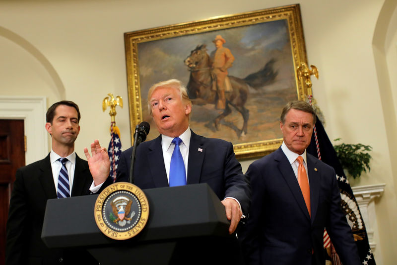 President Trump speaks during an announcement on immigration reform accompanied by Senator Tom Cotton and Senator David Perdue. REUTERS/Carlos Barria