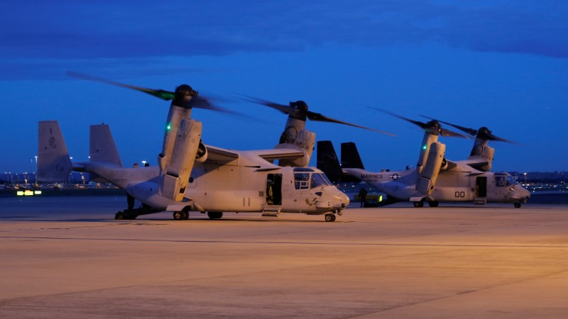 Two U.S. Marines MV-22 Osprey Aircraft sit on the apron of Sydney International Airport in Australia, June 29, 2017. Picture taken June 29, 2017.