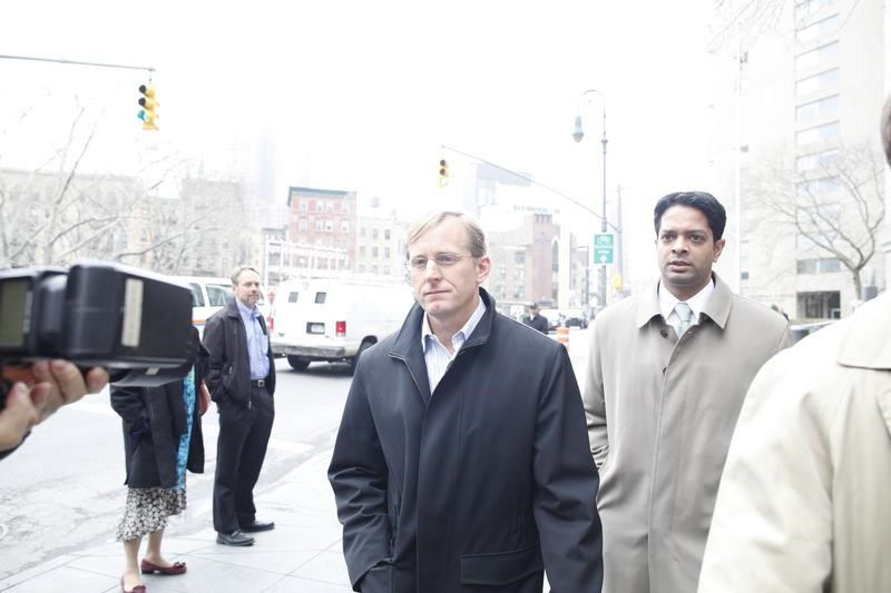 "FILE PHOTO: Joseph ""Chip"" Skowron, who ran FrontPoint Partners' healthcare funds, exits the Manhattan Federal Courthouse in New York April 13, 2011. REUTERS/Brendan McDermid"