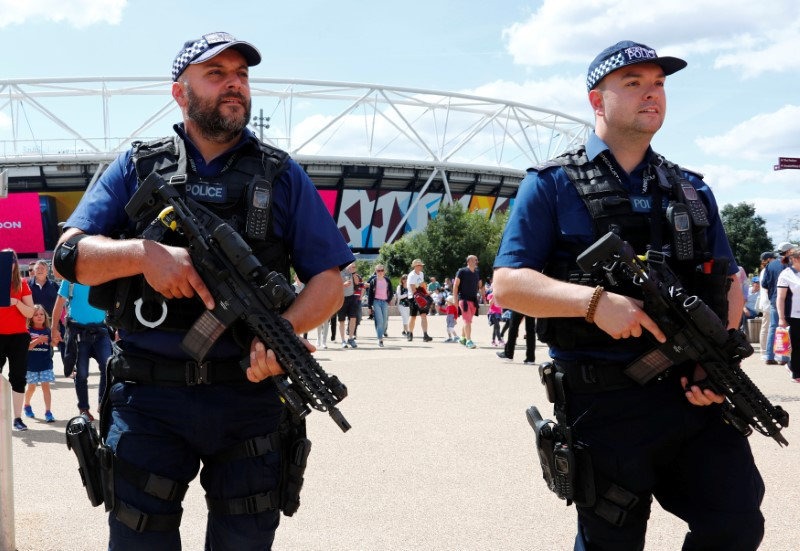 Police officers patrol in front of London Stadium during World Athletics Championships in London, Britain, August 6, 2017. REUTERS/Fabrizio Bensch