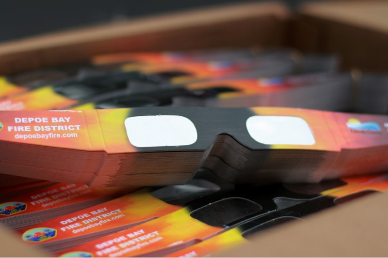 Solar eclipse glasses that will be handed out by the community are pictured in Depoe Bay, Oregon, U.S., August 8, 2017. REUTERS/Jane Ross