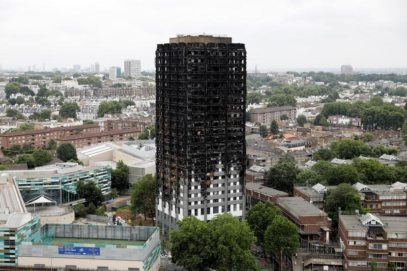 FILE PHOTO: A general view shows the Grenfell Tower, which was destroyed in a fatal fire, in London, Britain July 15, 2017. REUTERS/Tolga Akmen