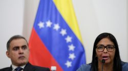 Delcy Rodriguez (R), president of the National Constituent Assembly, speaks next to Venezuela's chief prosecutor, Tarek William Saab, during a meeting of the Truth Commission in Caracas, Venezuela August 16, 2017. REUTERS/Ueslei Marcelino