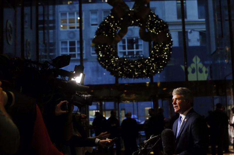FILE PHOTO: U.S. Representative Michael McCaul (R-TX) speaks to the news media after a meeting at Trump Tower to speak with U.S. President-elect Donald Trump in New York, U.S., November 29, 2016. REUTERS/Lucas Jackson