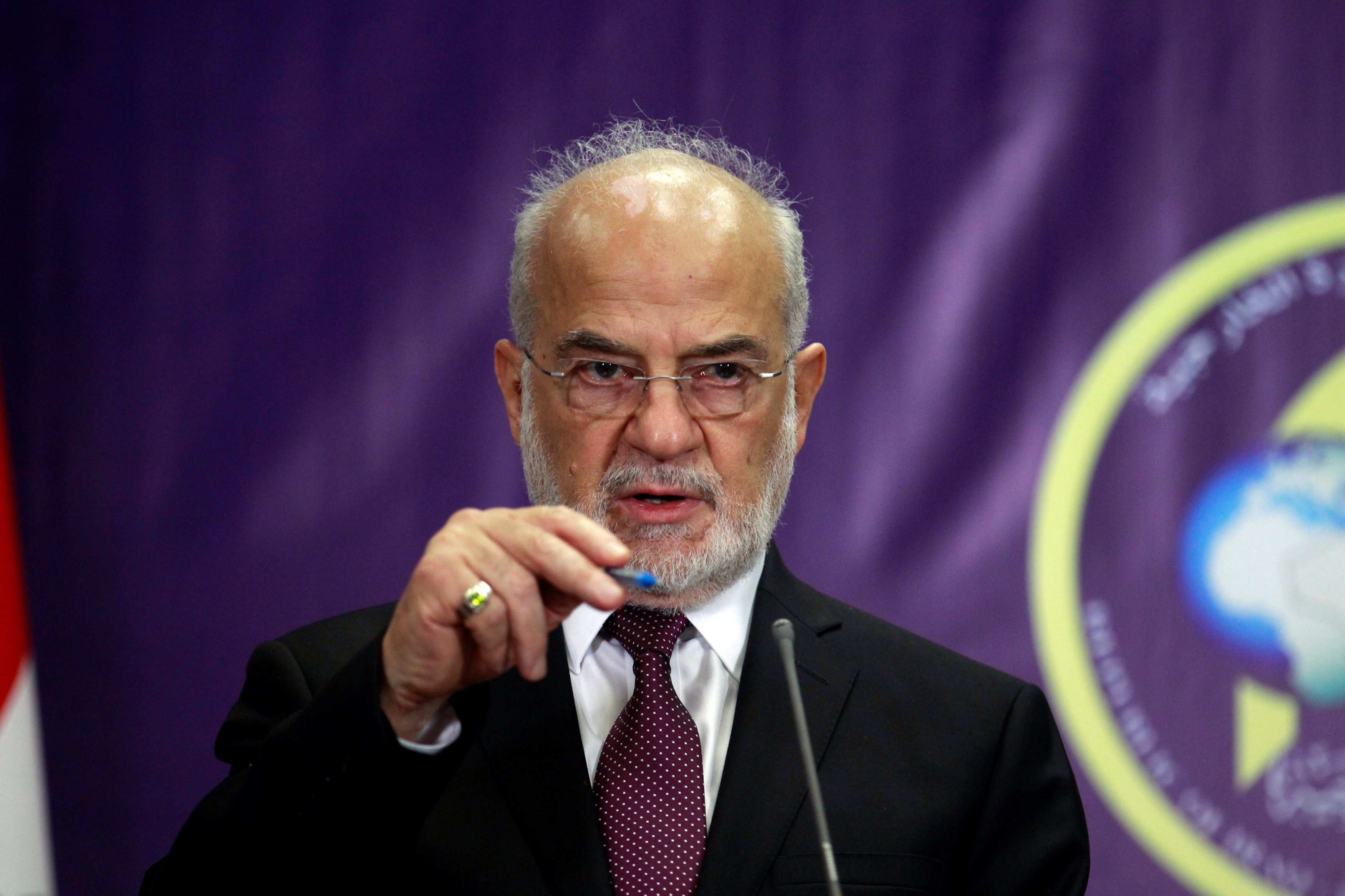 FILE PHOTO: Iraqi Foreign Minister Ibrahim al-Jaafari speaks to reporters during a news conference in Baghdad, Iraq July 19, 2017. REUTERS/Khalid al Mousily