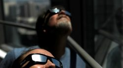 Solar eclipse sunglasses are pictured in Los Angeles, California, U.S., August 8, 2017. REUTERS/Mario Anzuoni