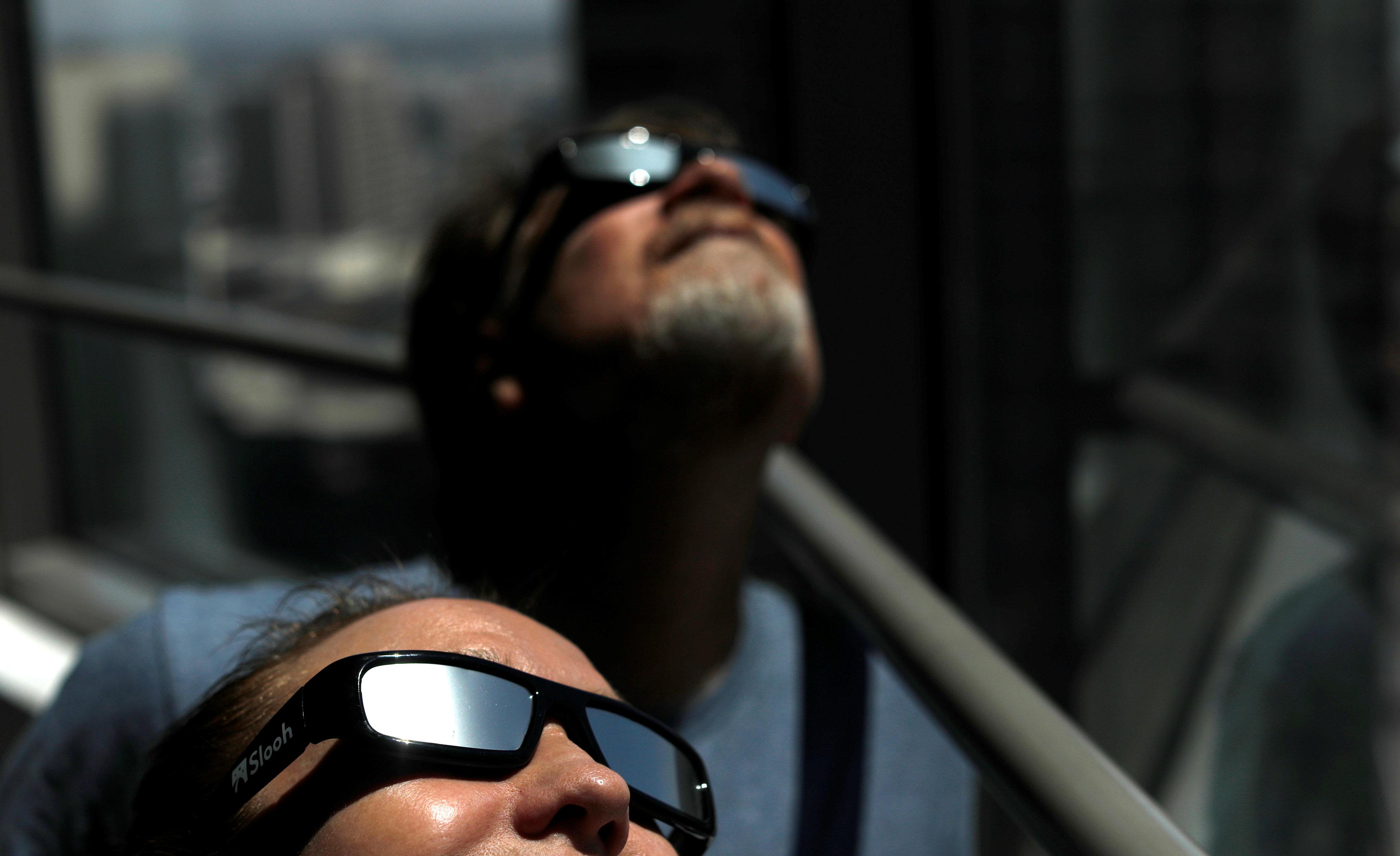 Solar eclipse sunglasses are pictured in Los Angeles, California, U.S., August 8, 2017. REUTERS/Mario Anzuoni