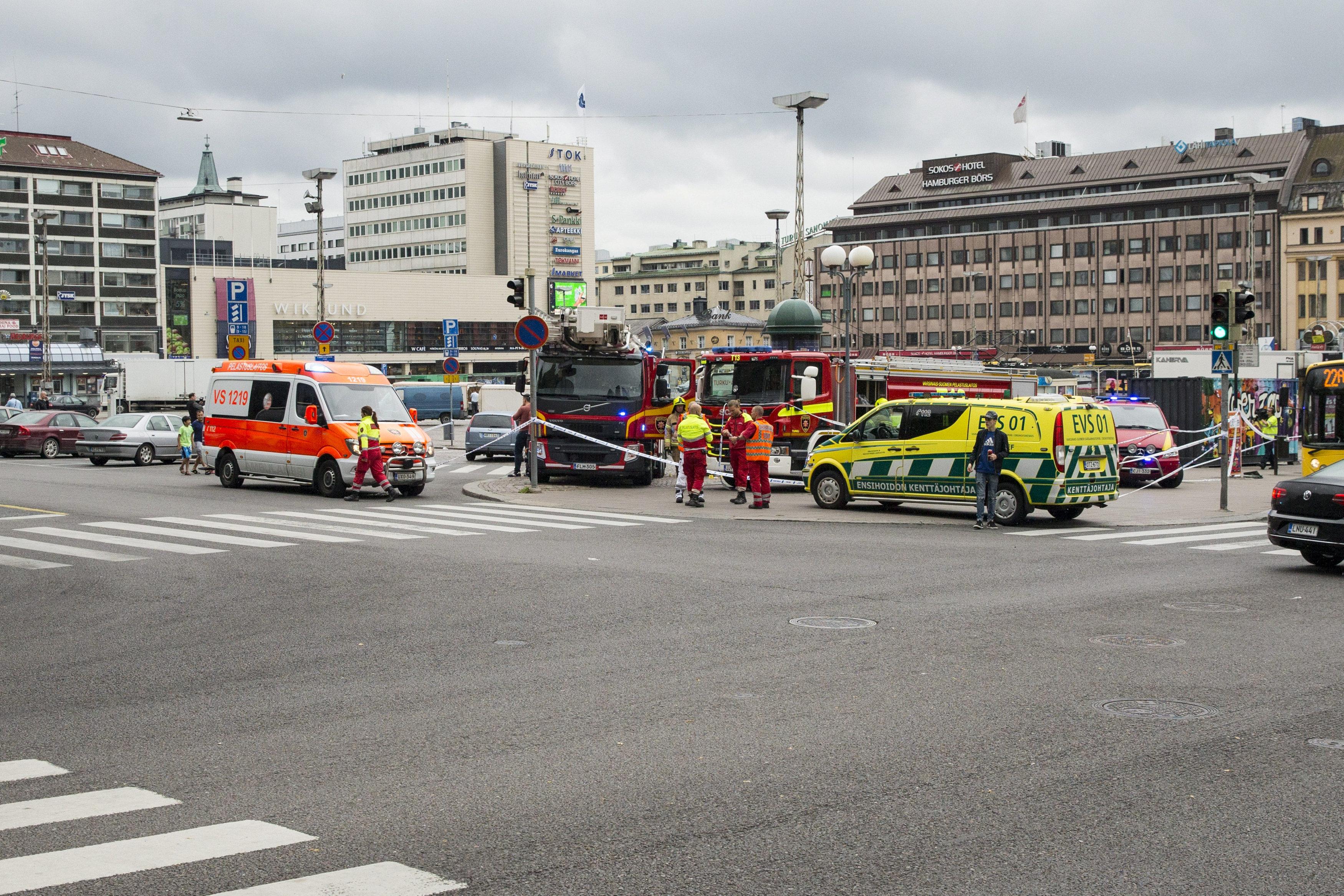 Rescue personnel cordon the place where several people were stabbed, at Turku Market Square, Finland August 18, 2017. LEHTIKUVA/Roni Lehti via REUTERS