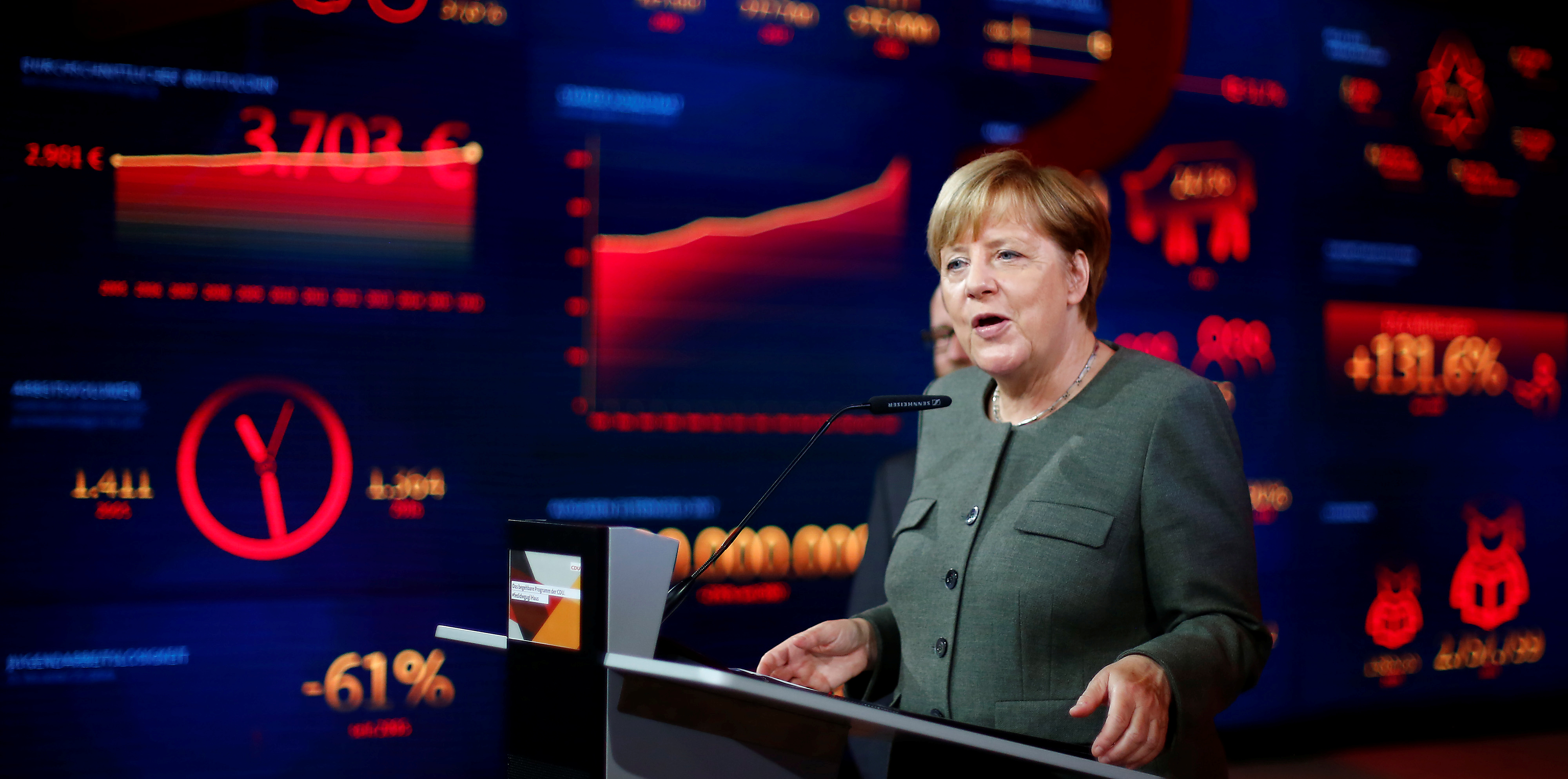 German Chancellor Angela Merkel, top candidate of the Christian Democratic Union Party (CDU), presents the new interactive election campaign ahead of the upcoming federal election in Berlin, Germany August 18, 2017. REUTERS/Hannibal Hanschke